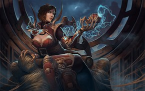 Picture girl, spider, League of Legends, black widow, Elise