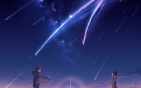 Picture girl, sunset, the evening, comet, guy, Your Name, Kimi No VA On