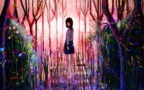 Picture forest, girl, ladder