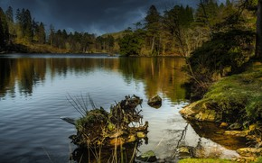 Picture autumn, forest, clouds, lake, pond, reflection, stones, shore, ate, pine, snag, pond, coniferous