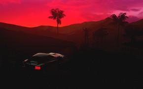 Picture Sunset, Auto, Music, People, Machine, Style, Silhouette, Ferrari, Style, Neon, Illustration, Testarossa, 80's, Synth, Retrowave, …