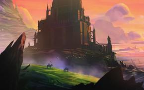 Wallpaper Mountains, Rocks, Palace, Castle, Knights, Fantasy, Landscape, Architecture, Fiction, Castle, War, Illustration, Environments, Sébastien Orsini, ...