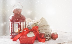 Picture winter, snow, background, gift, ball, New Year, lantern, tape, red, bumps, decor, spices, Valeria Maksakova