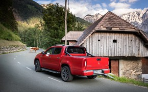 Picture road, mountains, red, house, Mercedes-Benz, pickup, 2018, X-Class