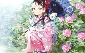 Picture Flowers, bubbles, The bushes, Girl, Umbrella
