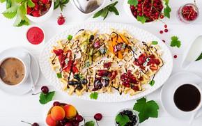 Picture berries, coffee, chocolate, Breakfast, waffles, Timolina