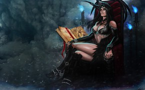 Picture Girl, Book, Girl, Darkness, Horns, Dragon, Art, Beautiful, Art, Devil, Succubus, Darkness, Fiction, Illustration, Succubus, …