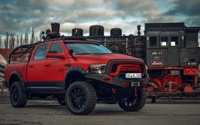 Picture red, Dodge, pickup, 1500, Ram, Crew Cab, Limited, air suspension, JB Car Design