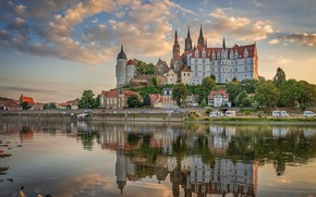 Picture reflection, river, castle, building, home, Germany, promenade, Germany, Saxony, Saxony, Maysen, Elbe River, Albrechtsburg Castle, …