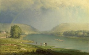 Picture landscape, mountains, river, rainbow, picture, George Inness, The Delaware Water Gap, George Inness