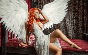 Picture wings, model, angel, redhead, pose, A Diakov George