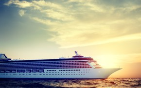 Picture Sunset, The sun, The ocean, Sea, Liner, Board, The ship, Rendering, Passenger ship, Passenger liner, …