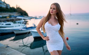Picture sea, landscape, sexy, pose, model, portrait, boats, the evening, makeup, figure, dress, horizon, hairstyle, brown …