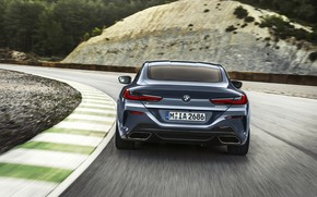 Picture coupe, speed, turn, BMW, Coupe, 2018, gray-blue, 8-Series, pale blue, M850i xDrive, Eight, G15