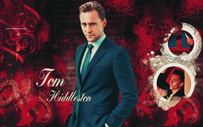 Picture red background, Tom Hiddleston, by happinessismusic