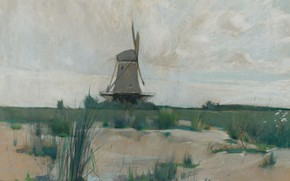 Picture landscape, picture, Windmill, John Henry Twachtman, John Henry Twachtman