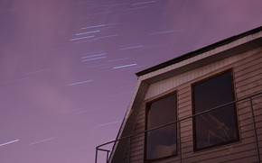 Picture space, stars, clouds, night, house