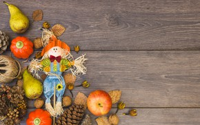Picture autumn, leaves, apples, fruit, nuts, pear, wood, autumn, leaves, fruit, apples
