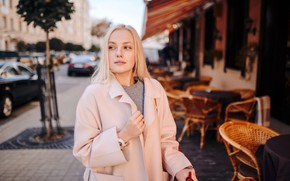 Picture model, portrait, makeup, hairstyle, blonde, beauty, coat, bokeh, Sergey Kravchenok, Alice Malevich