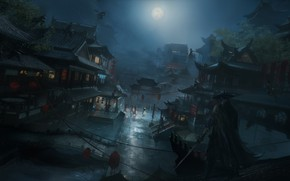 Picture Night, Figure, The city, The moon, Asia, City, Attack, Moon, Architecture, Art, Night, Fighters, War, ...