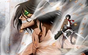 Picture anime, art, Titan, Mikasa, Shingeki no Kyojin, Eren, Attack Of The Titans