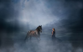 Picture girl, horse, dress, Arif Mounted