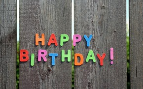 Picture photo, The fence, Board, The inscription, Birthday