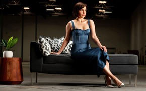Picture pose, portrait, makeup, dress, actress, hairstyle, brown hair, beauty, sitting, on the couch, Emilia Clarke, …