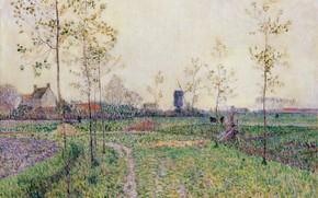 Picture picture, windmill, house, Paul Baum, 1894, Paul Baum, Autumn Landscape near Knokke