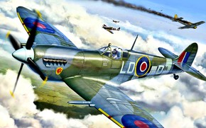 Picture Spitfire, RAF, 1944, WWII, Spitfire Mk.IXc, 602 Squadron, Pierre Clostermann