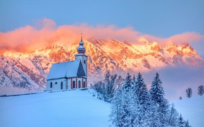 Picture winter, forest, snow, mountains, hill, Church, chapel