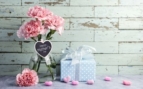 Wallpaper flowers, gift, hearts, love, pink, happy, pink, flowers, beautiful, romantic, hearts, gift, clove, mother's day, ...