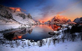 Picture snow, mountains, lake, glow