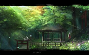 Picture Japan, ladder, lantern, priestess, gazebo, the rays of the sun, fairy forest, white Fox, Kikivi, …