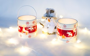 Picture light, decoration, snowflakes, background, holiday, toy, Shine, new year, Christmas, light, candles, fur, snowman, mugs, …
