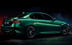 Picture background, green, Alfa Romeo, sedan, dark, Four-leaf clover, Giulia, four-door, 2020