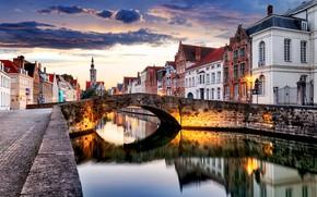 Wallpaper the city, river, the evening, Belgium, street, Belgium, Bruges, Bruges