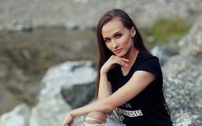 Picture look, girl, photo, model, brunette, beautiful, bokeh, Nastya, Evgeniy Bulatov