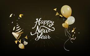Wallpaper holiday, balls, new year, black background, new year, decoration, Happy, Celebration