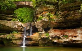 Picture bridge, lake, rocks, waterfall, Ohio, State Park Hocking hills