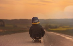 Picture Skateboard, Road, Child, Mood