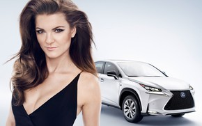 Picture look, Girls, beautiful girl, white car, Lexus NX, against the machine, Agnieszka Radwanska