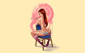 Picture Girl, Minimalism, Figure, Girl, Lollipop, Art, Red, Lollipop, Candy, by Felipe Kimio, Lollipop Girl, Felipe …