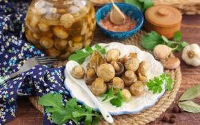 Picture mushrooms, spices, mushrooms, marinated