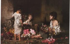 Picture flowers, children, HARLAMOFF, THE FLOWER GIRLS