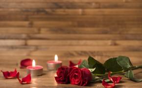 Picture romance, roses, bouquet, candles