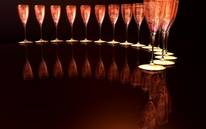 Picture bubbles, reflection, background, wine, ice, glasses, a number