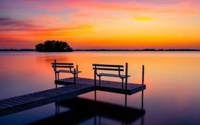 Picture sunset, night, lake, bench
