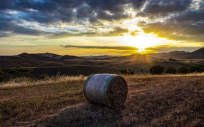 Picture sunset, hills, hay