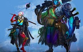 Picture girl, weapons, fiction, sword, mask, cyborg, samurai, shinobi